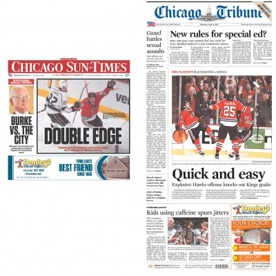June 3 newspaper fronts from the Chicago Sun-Times and the Chicago Tribune.