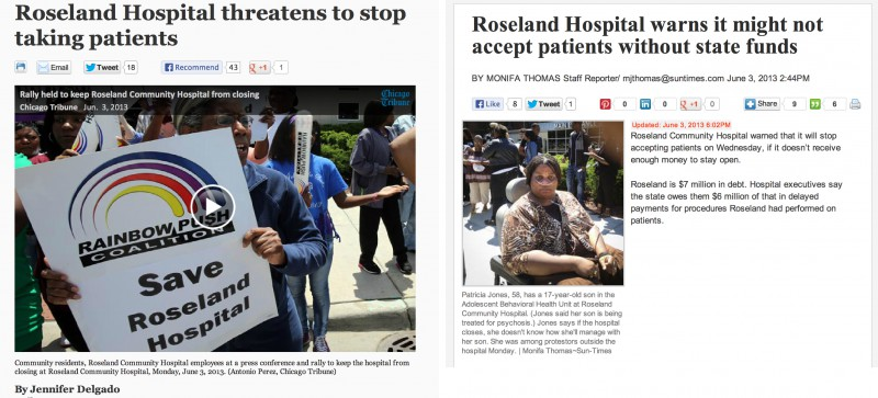 The Chicago Tribune assigned a photographer and a reporter to cover the Roseland Community Hospital protest. The Sun-Times sent a reporter with a smartphone.