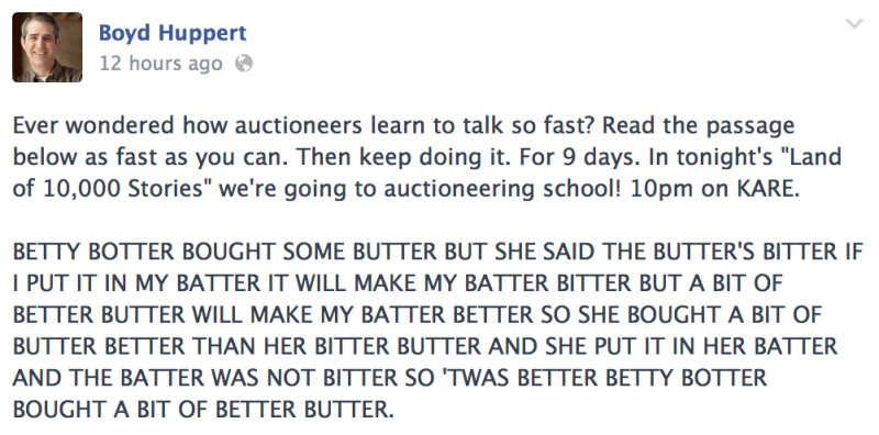 Facebook promo for Boyd Huppert's story on auctioneer school